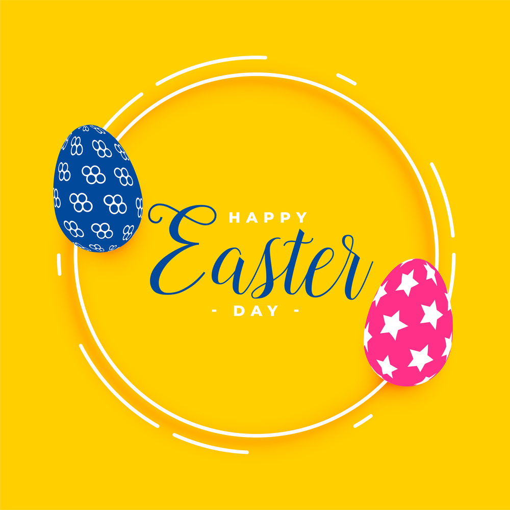 happy easter yellow card with eggs design