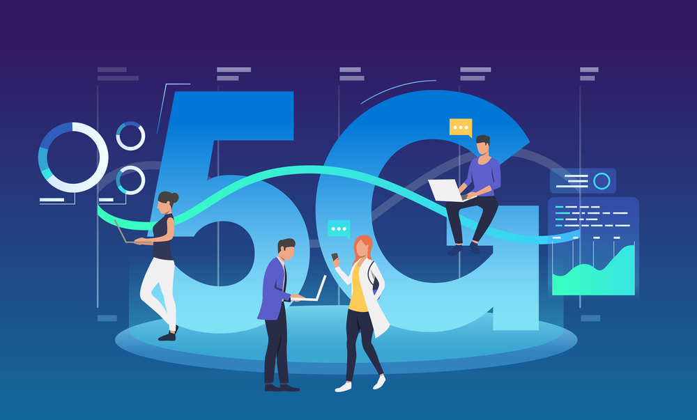 Employees with laptops using 5G internet. Communication, fifth generation, discussion. Technology concept. Vector illustration can be used for topics like wireless connection network, interacting