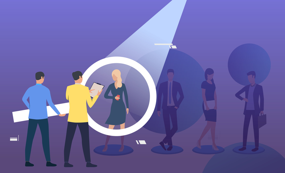 Employer and candidate talking through magnifying glass. Man, woman, spotlight, loupe. Human resource concept. Vector illustration can be used for topics like job interview, hiring, recruiting